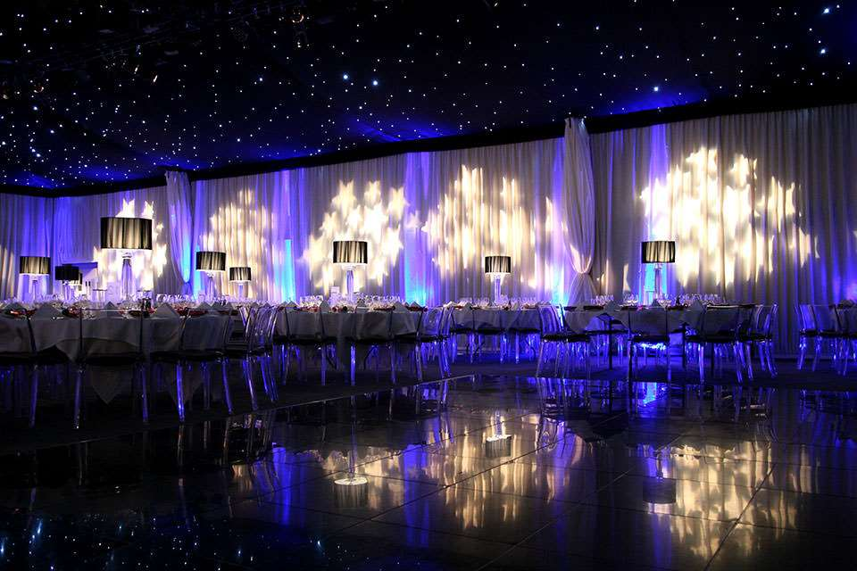 The Hangar at Kesgrave Hall set up for a wedding reception