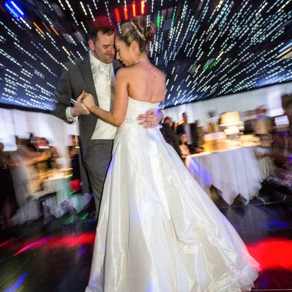 Bridge and Groom dance in The Hangar at Kesgrave Hall